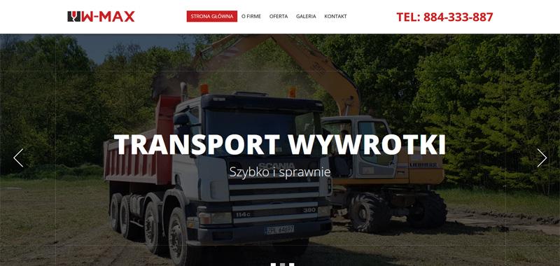Realizacja - Ww-max stronę internetowa przedstawiającą opis oraz ofertę firmy.